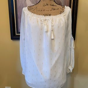 Guess Blouse White with Gold threads tassels